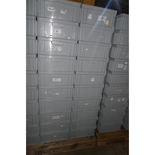 30 - 20 grey plastic stacking boxes...