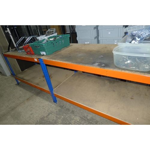 47 - 2 orange and blue worktop/table height racks...