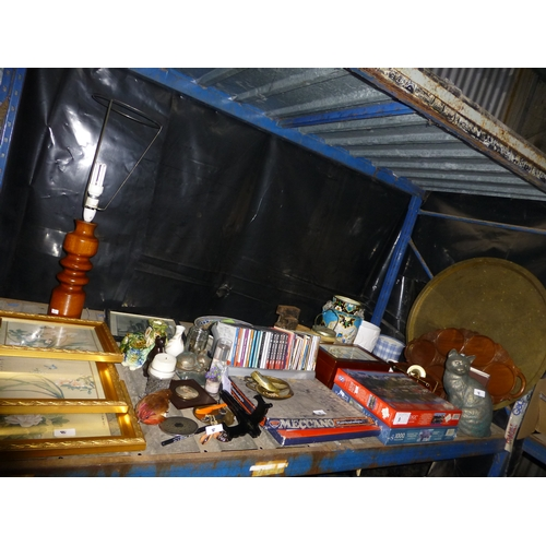 8 - A quantity of various household items including ornaments, jigsaws, a table lamp etc. Contents of on...