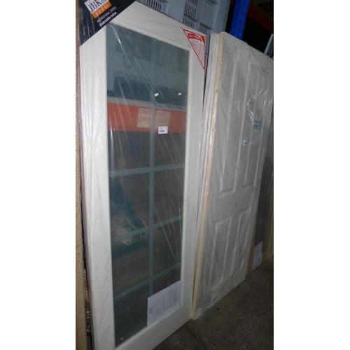 2004 - 1 Decca door with single large glass pane fitted by LPD approx 762mm x 1982mm...