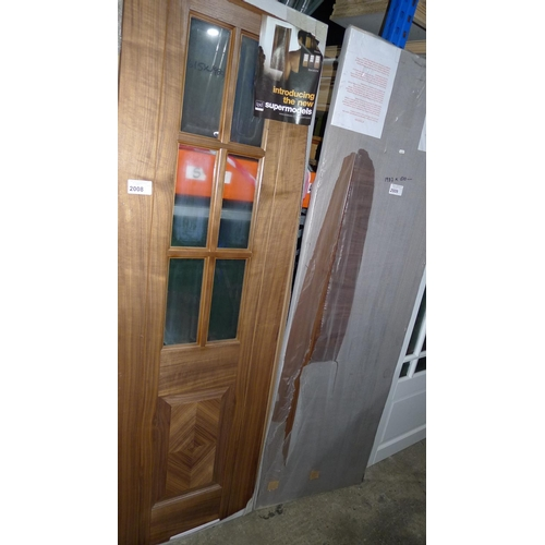 2008 - 1 internal wooden door with 6 glass panes fitted by LPD type Barcelona approx 610mm x 1982mm...