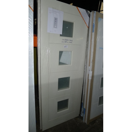 2013 - 2 quattro hollow glazed MDF slab internal doors comprising 1 at approx 838mm x 1982mm & 1 at approx ...