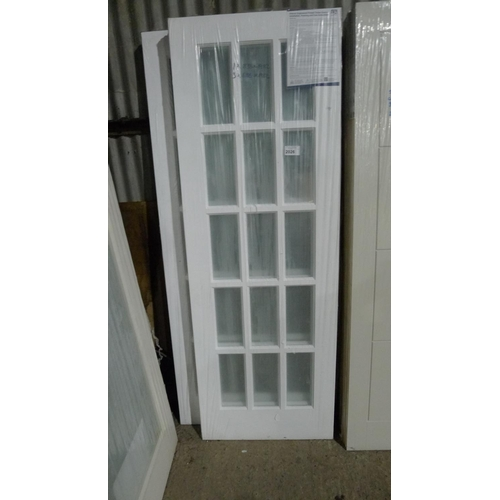 2026 - 4 white internal doors each with 15 small glass panes comprising 3 at approx 1982mm x 686mm & 1 at 1...