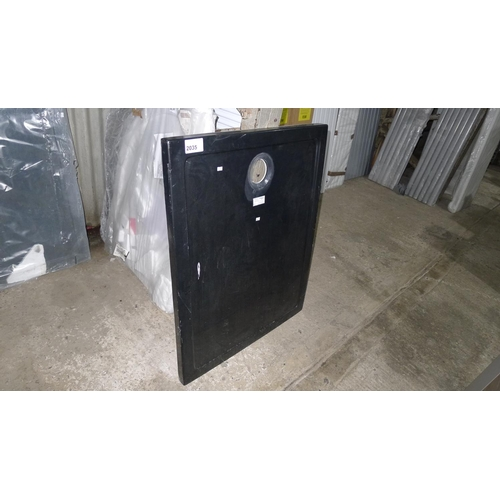 2035 - 1 black plastic shower tray approx 1m x 80cm...