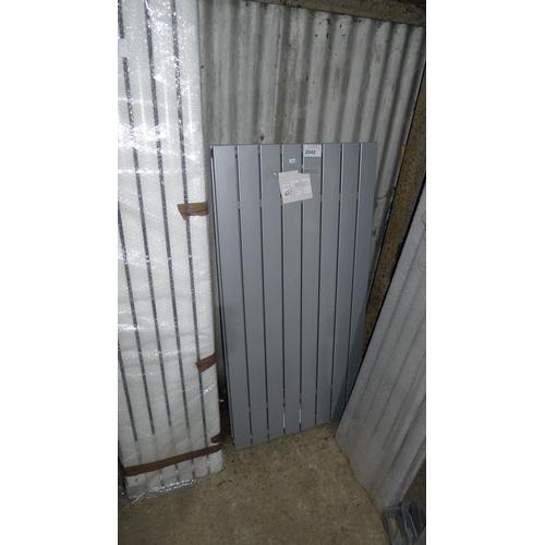 2042 - 1 silver designer radiator by ETS approx 1200mm x 595mm...