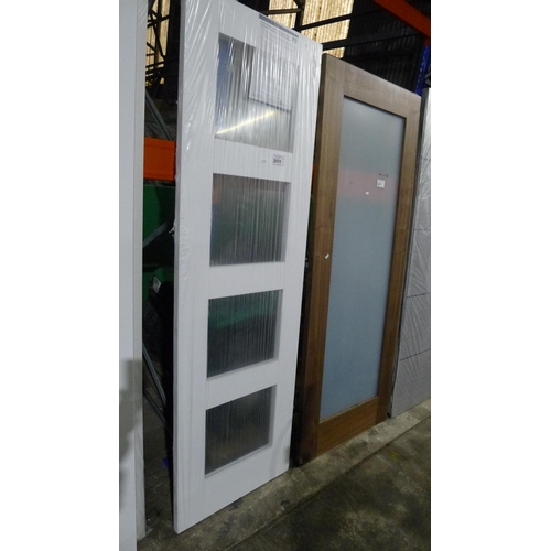 2015 - 1 engineered white primed timber door by Jeld Wen with 4 small glass panes fitted approx 1981mm x 61...