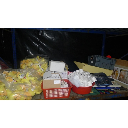 2 - A quantity of various items including till rolls, soft toys, 3 calculators, price label guns etc. Co...