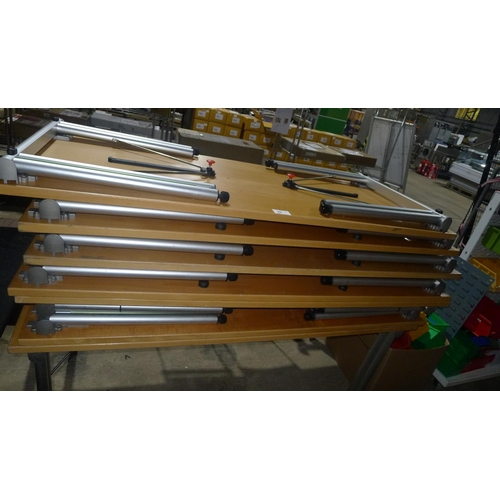 20 - 7 wood effect tables with metal folding legs...