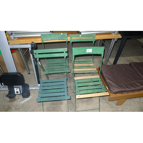 26 - 4 green painted vintage garden chairs - 2 have repaired slats...