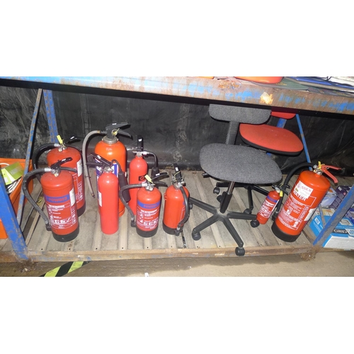 3 - 9 various fire extinguishers and two office swivel chairs. Contents of one shelf...