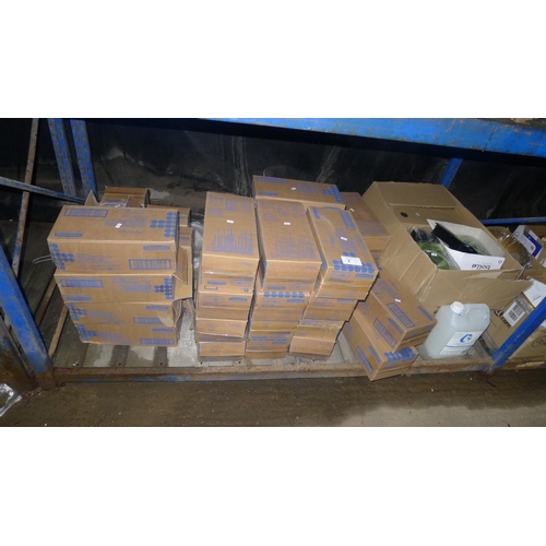 7 - A quantity of Aquarius folded toilet paper dispensers & soap dispensers. Contents of one shelf...