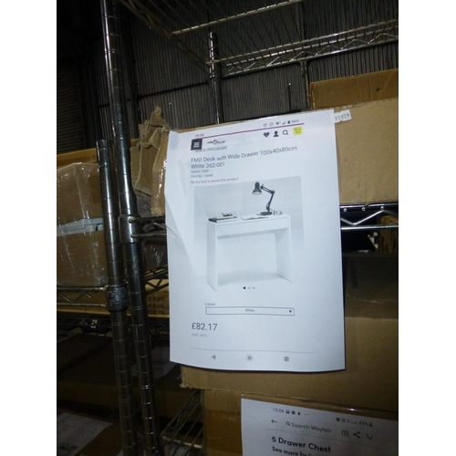 52 - 1 FMD white desk with wide drawer RRP £82...