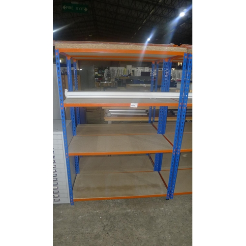 1005 - 2 freestanding bays of orange / blue metal boltless stores type racking, each bay approx 1.13m wide,...
