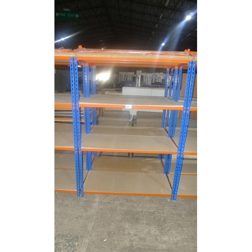 1007 - 2 freestanding bays of orange / blue metal boltless stores type racking, each bay approx 1.13m wide,...