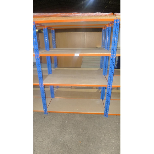 1010 - 2 freestanding bays of orange / blue metal boltless stores type racking, each bay approx 1.13m wide,...