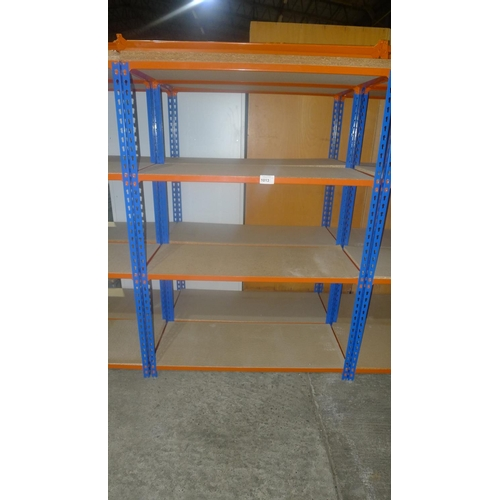 1013 - 2 freestanding bays of orange / blue metal boltless stores type racking, each bay approx 1.13m wide,...