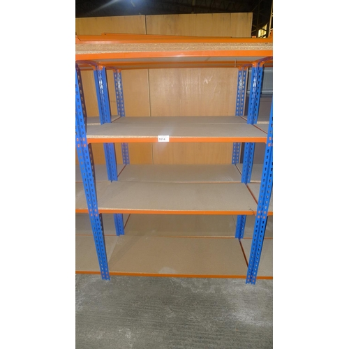 1014 - 2 freestanding bays of orange / blue metal boltless stores type racking, each bay approx 1.13m wide,...