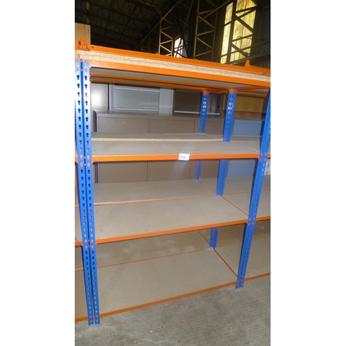 1015 - 2 freestanding bays of orange / blue metal boltless stores type racking, each bay approx 1.13m wide,...
