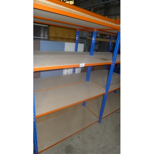 1016 - 2 freestanding bays of orange / blue metal boltless stores type racking, each bay approx 1.13m wide,...
