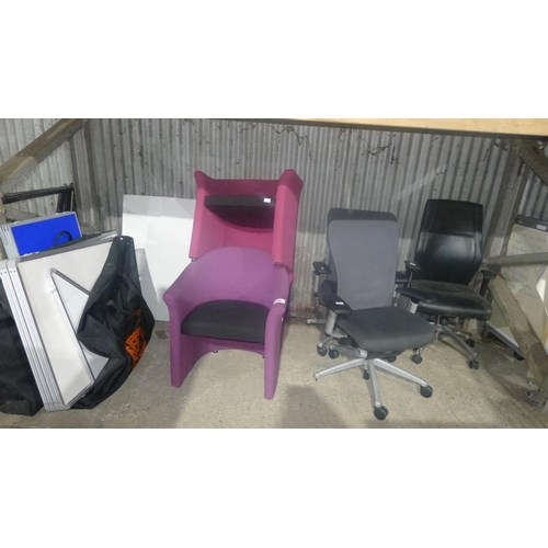 1019 - 6 various chairs comprising of 3 office swivel chairs (2 are missing wheels) & 3 tub type chairs...