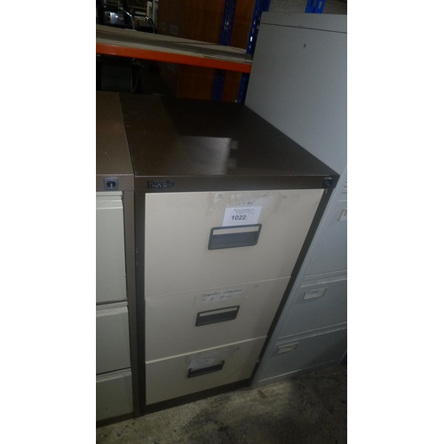 1022 - 1 metal 3 drawer filing cabinet...