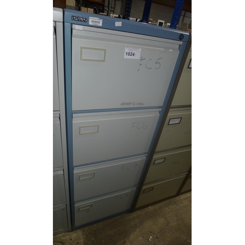 1024 - 1 blue metal 4-drawer filing cabinet by Roneo...