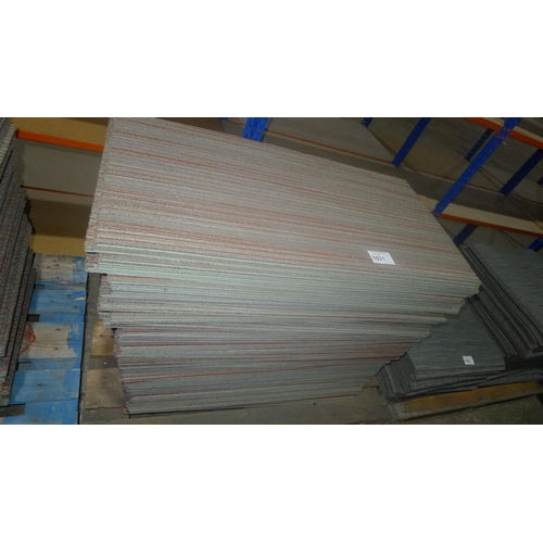 1031 - A quantity of approx 100 rectangular striped carpet tiles by Shaw type Ecologix, each tile approx 91...