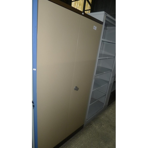 1050 - 1 metal two door storage cabinet approx 6ft by 3ft...