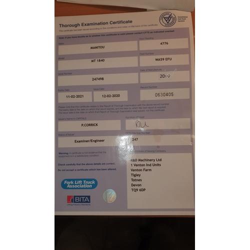 31 - MANITOU Telehandler MT 1840, Reg WA59 EFU, 1st Reg 01/01/2010, 4776 hrs, s/n 247498, Declared manufa...