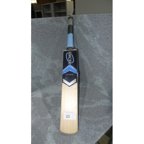 23 - 1 small Macer Platinum cricket bat, weight approx 680 grams - no size visible...
