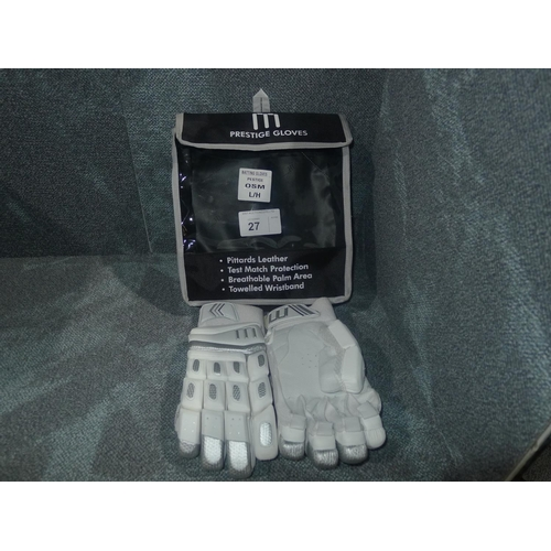 27 - A pair of Macer Prestige batting gloves size OSM L/H...