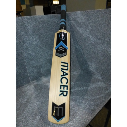 5 - 1 used Macer Platinum cricket bat size not shown, weight approx 1383 grams, RRP when new was £320...