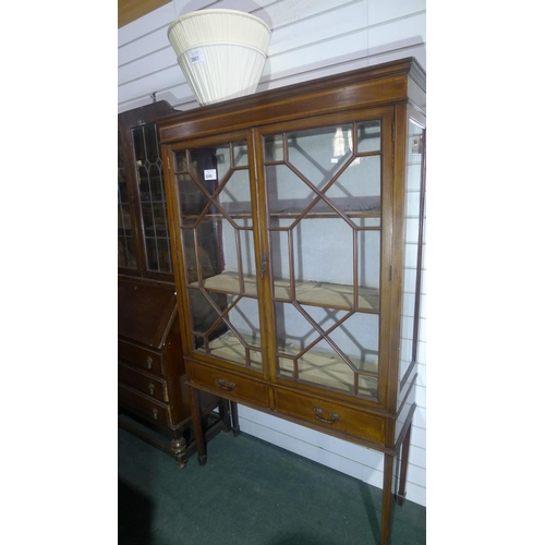 2006 - Edwardian inlaid mahogany display cabinet with 2 glazed doors enclosing shelves and two drawers unde...