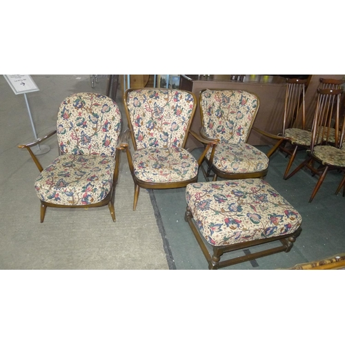 2055 - 3 similar Ercol dark wood rail back armchairs...