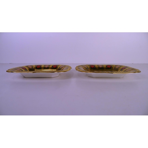 397 - A pair of Royal Crown Derby old Imari 1128 rectangular trays, 16 cm long