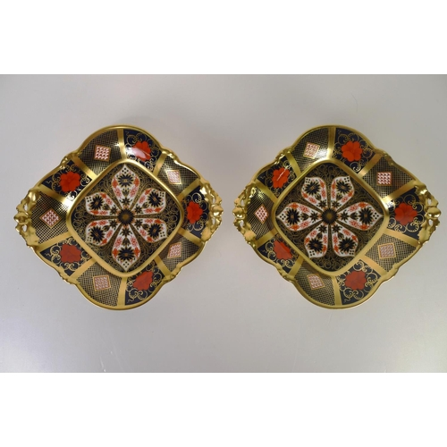 399 - A pair of Royal Crown Derby old Imari 1128 rectangular baskets, 19cm wide, with boxes