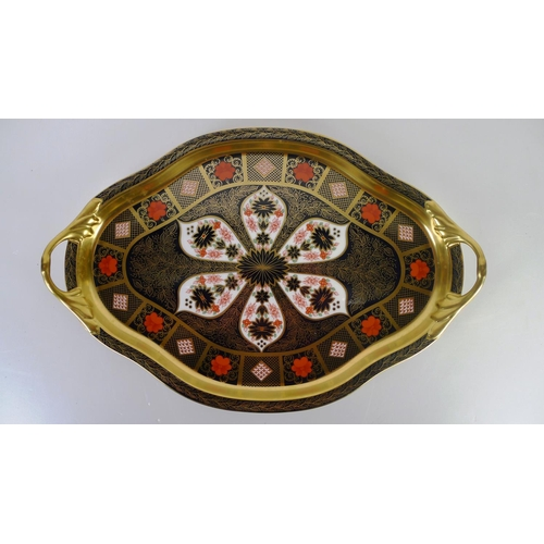 421 - A Royal Crown Derby old Imari 1128 two handled Hartington tray, 40cm long, with box
