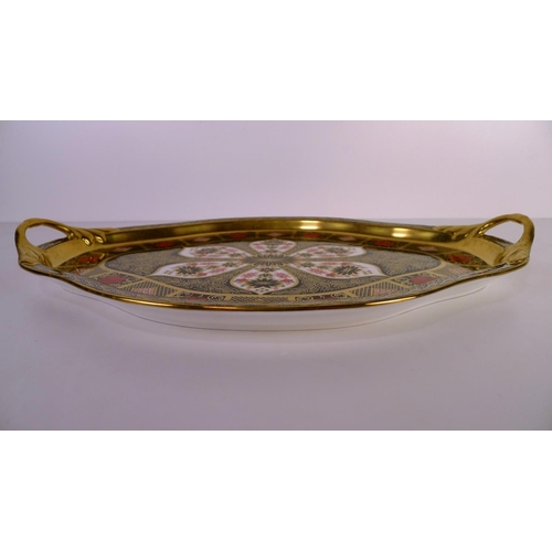 421 - A Royal Crown Derby old Imari 1128 two handled Hartington tray, 40cm long, with box...
