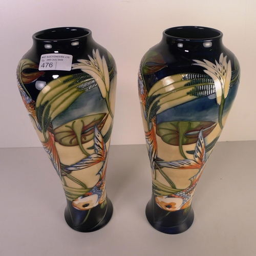 476 - A pair of modern Moorcroft pottery vases, 37cm tall, decorated with fish & foliage, impressed & pain...