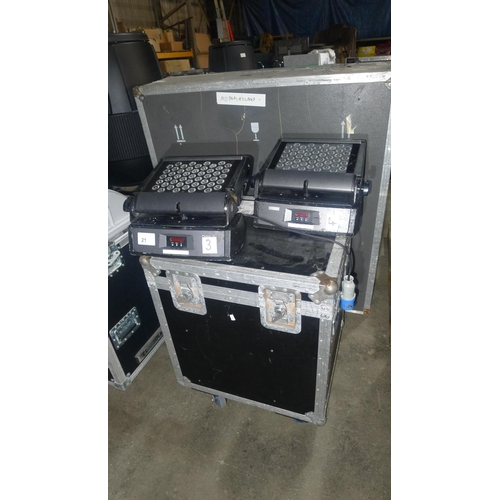 21 - 2 x SGM Palco 3 LED colour changing lights 240v supplied with a wheeled flight case approx 64cm w x ...