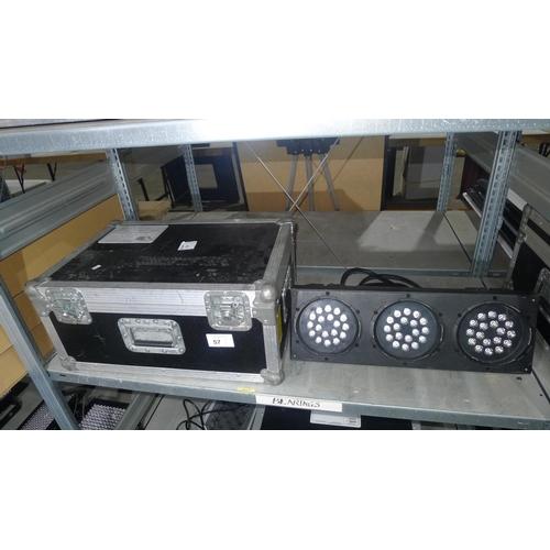 57 - 1 Showtec Arc-Bar 3 LED light, 240v in a flight case approx 62cm w x 43cm d x 28cm h...