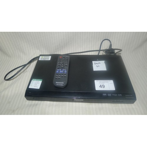 49 - 1 Panasonic DVD player type DVD-S38 & 1 box containing 6 Logitech speakers...