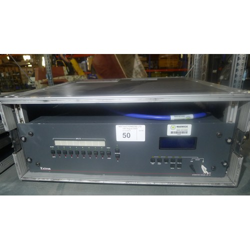 50 - 1 Extron Integrated Scaling Matrix Mixer type ISM 482, 240v in a rack mount flight case approx 53cm ...