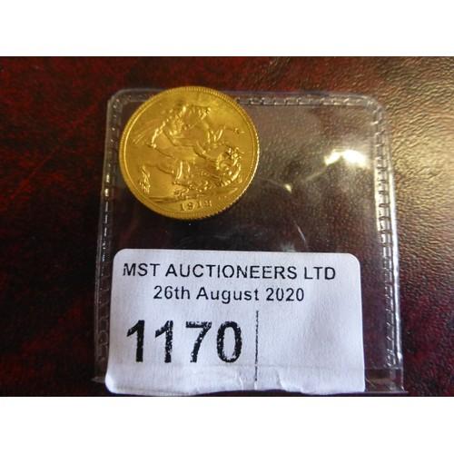 1170 - 1 George V full gold sovereign 1912