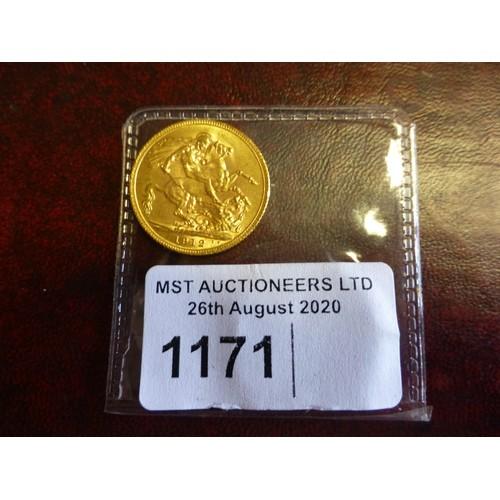 1171 - 1 George V full gold sovereign 1912...