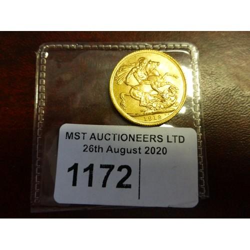 1172 - 1 George V full gold sovereign 1912