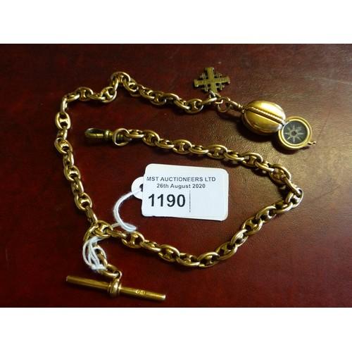 1190 - An 18-carat gold watch Albert, approximately 80 gms