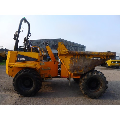 2390 - 1 Thwaites 6 ton dumper type MACH 665, YOM 2010, serial no. SLCM665Z1002 B9398 (D6-6), Hours 2597.9,...