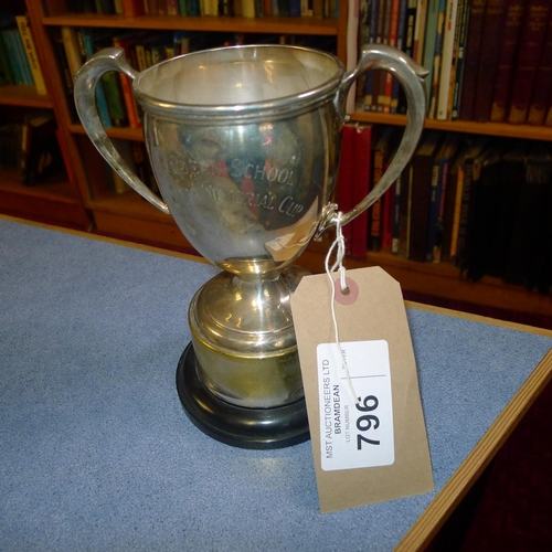 796 - A silver trophy cup  13cms tall, approximately 255gms, with small stand