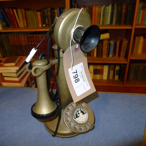 798 - A replica brass 1920s style telephone instrument